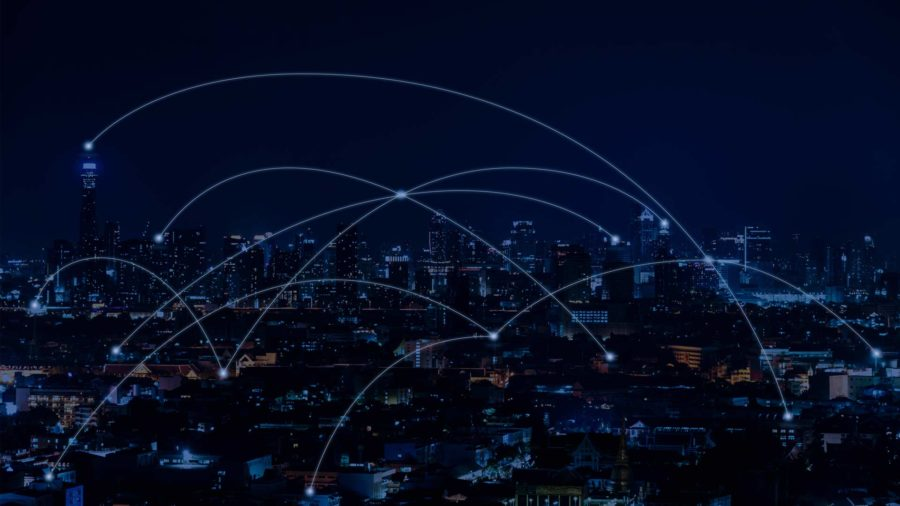 internet of things connection cityscape at night