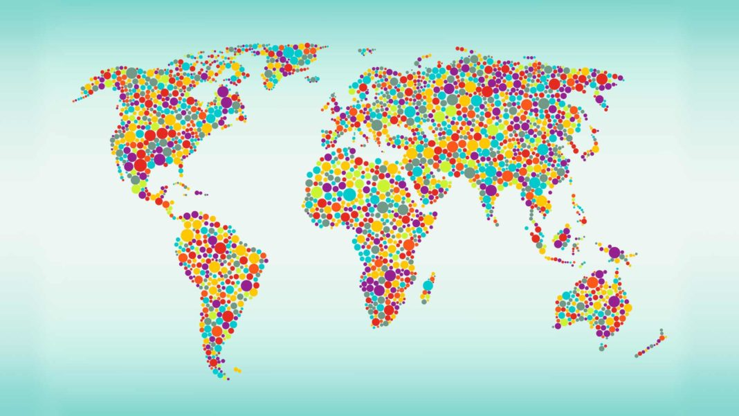 World map in multicolored dots