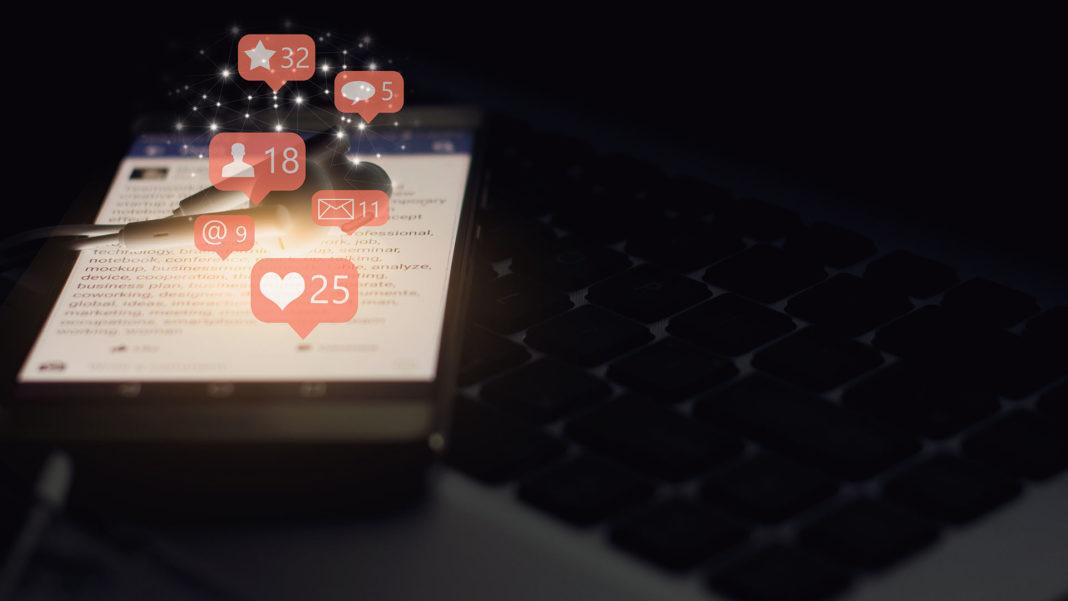 smartphone screen showing social media concept