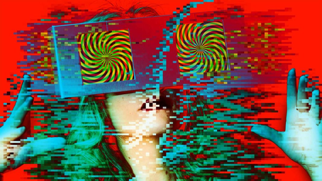 woman with video screens over eyes abstract