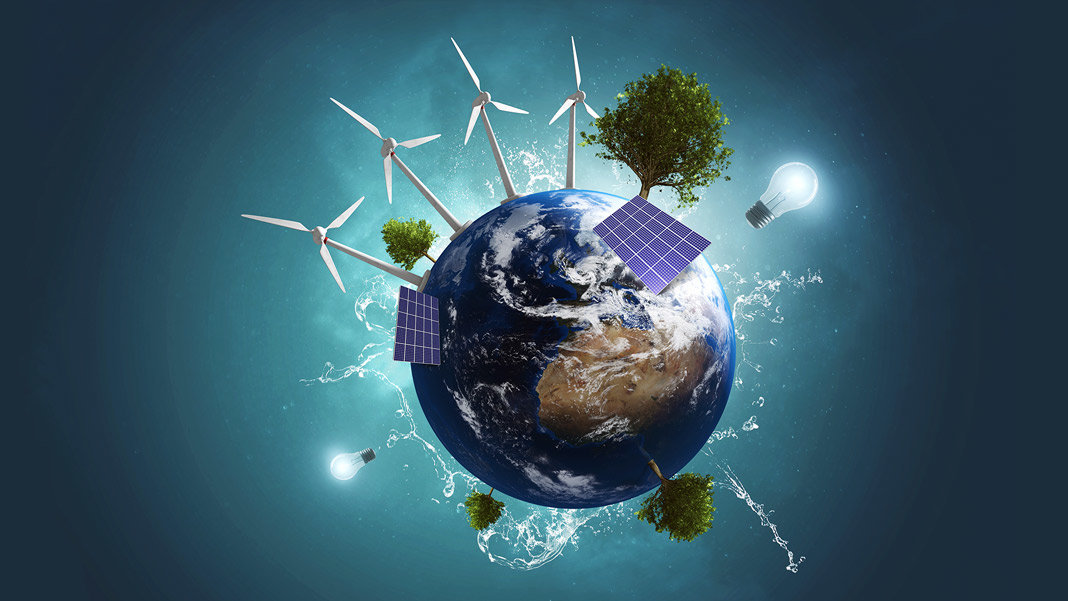 3D illustration globe green energy earth