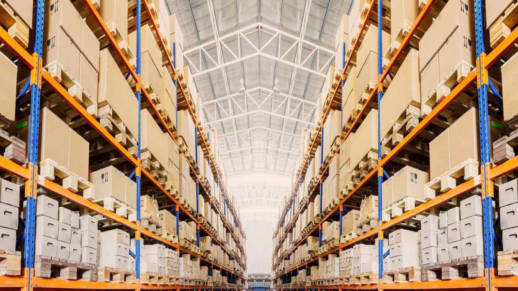 rows of shelves goods in boxes modern industry