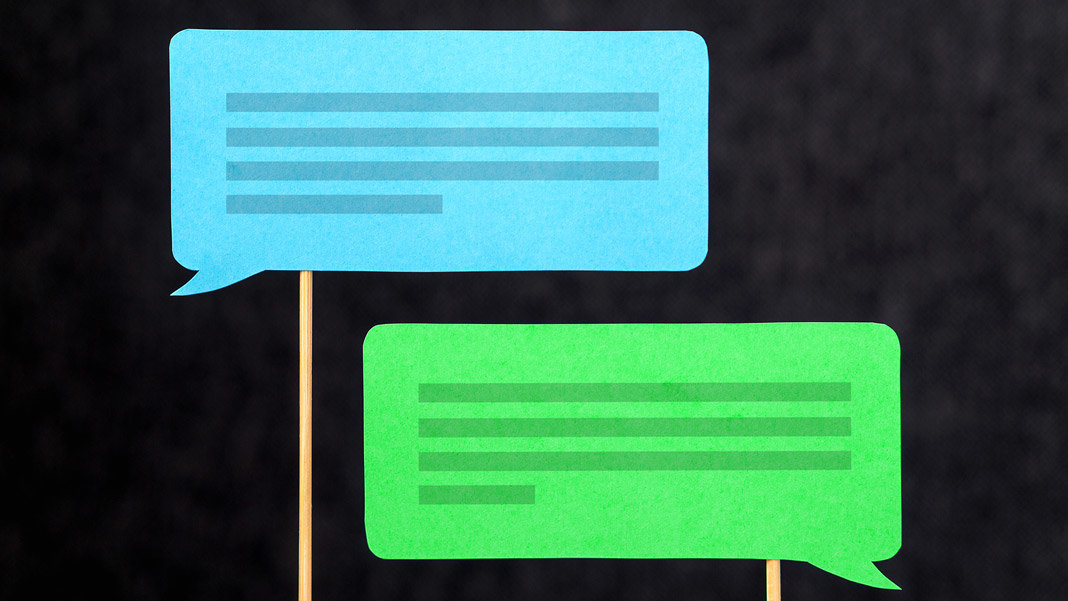 two chat bubbles speech balloons