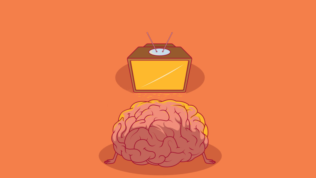 brain watching TV illustration
