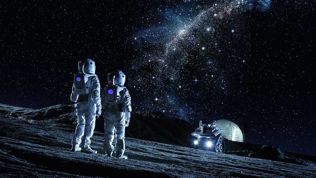two astronauts space suits stand on moon