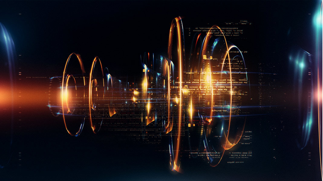 quantum technology abstract in 3D