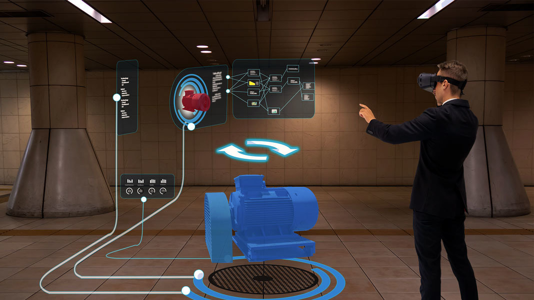 futuristic industry with smart technology using virtual reality