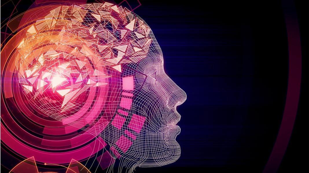 abstract cyborg pink digital human