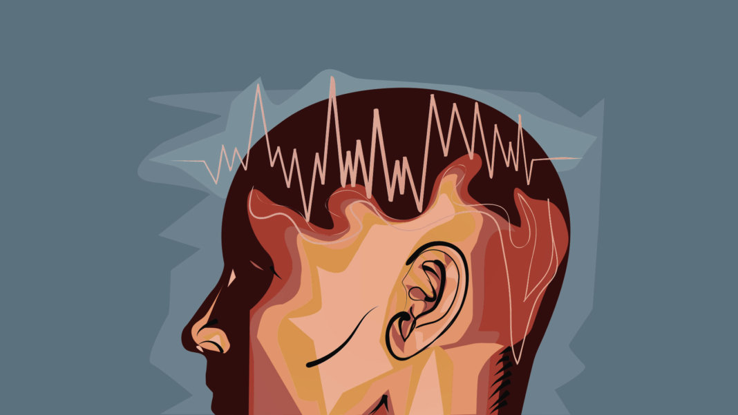 brain waves illustration man eeg