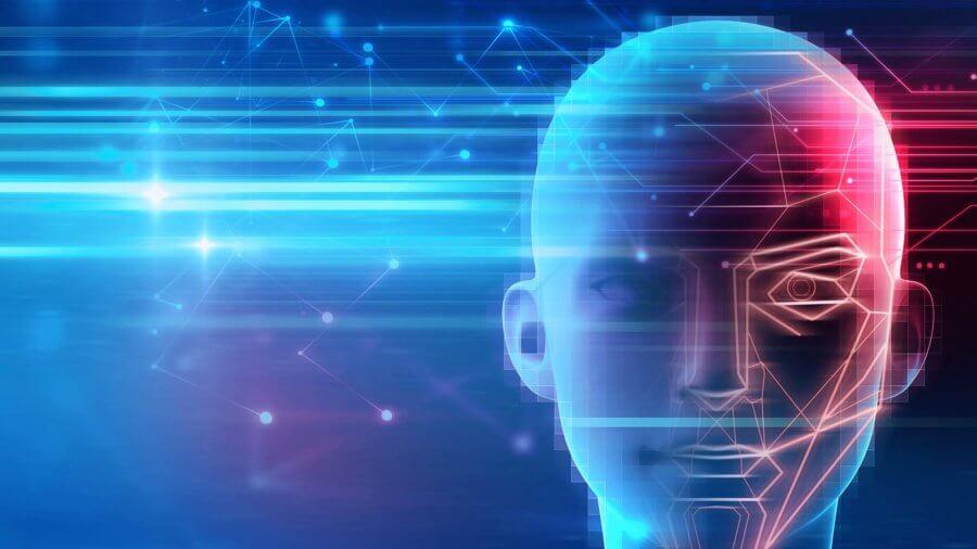 artificial intelligence robotic human head illustration