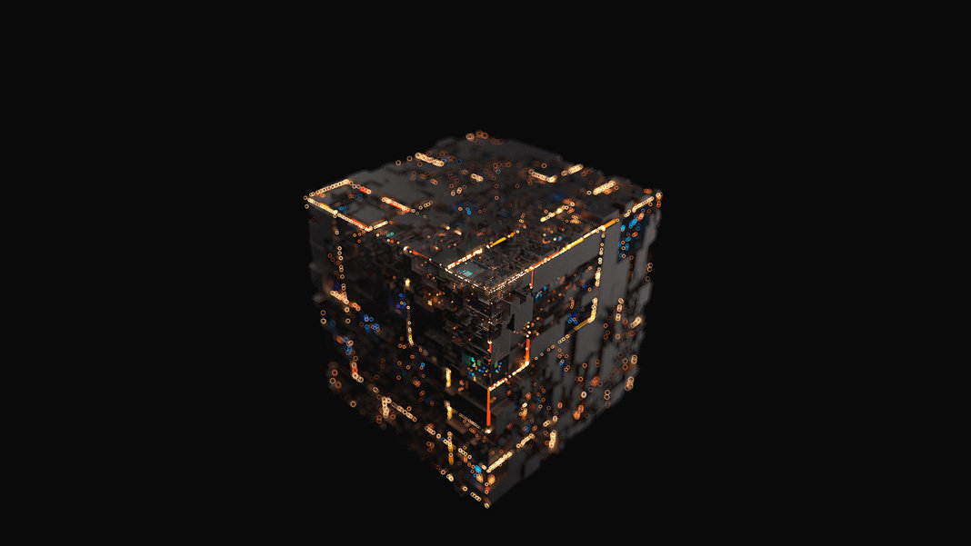 black box concept modern machine cube