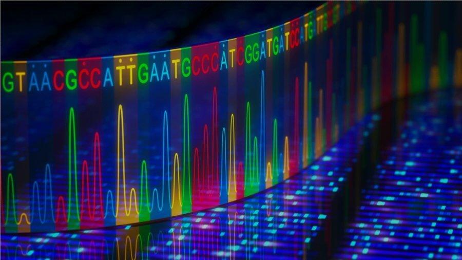 3D dna sequencing illustration
