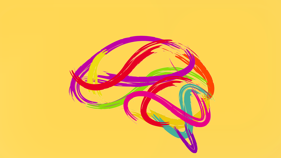 abstract brain made of creative paint strokes