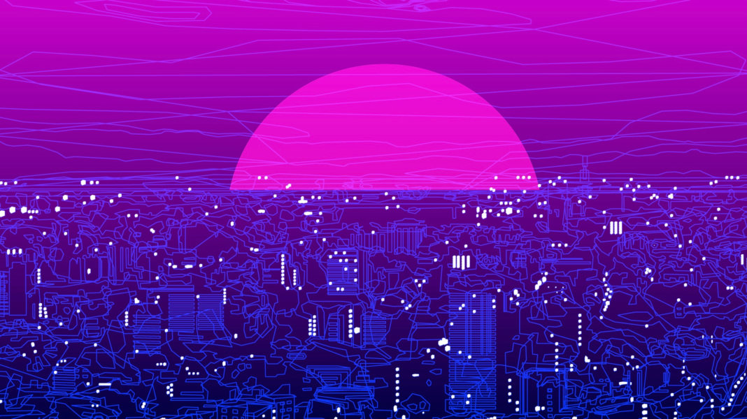 pink sunrise purple city illustration