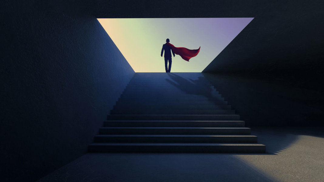 superhuman on stairs