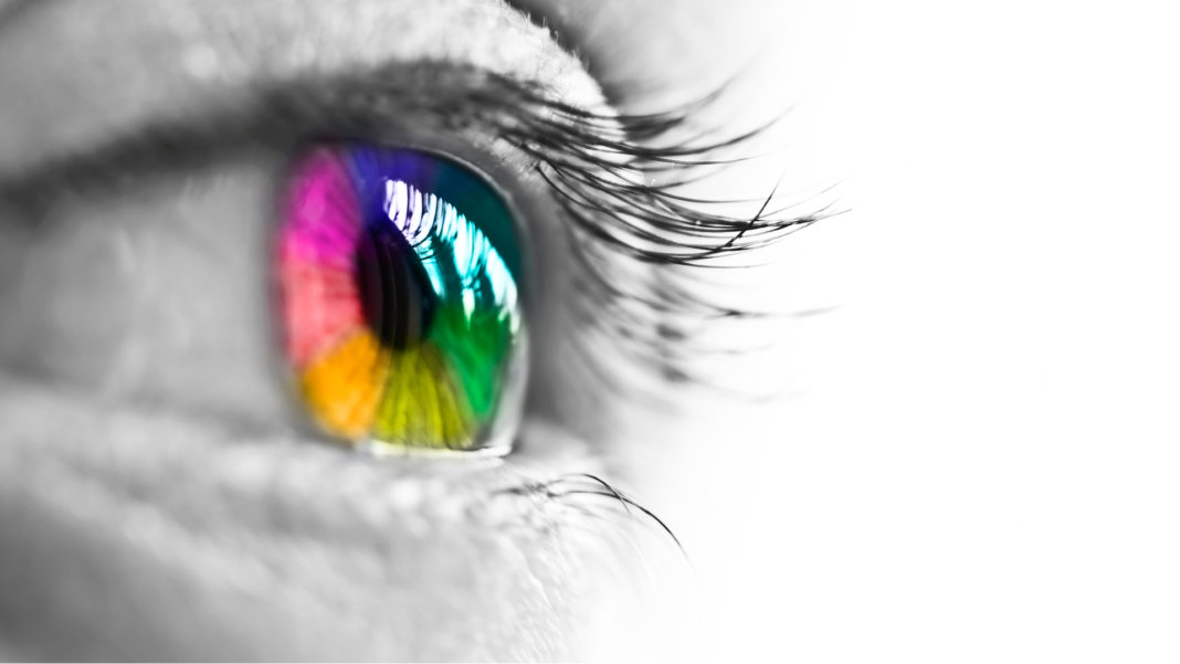 human eye with rainbow iris