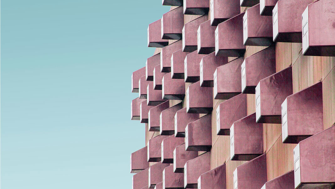 pink boxes architecture building blue sky background Curation