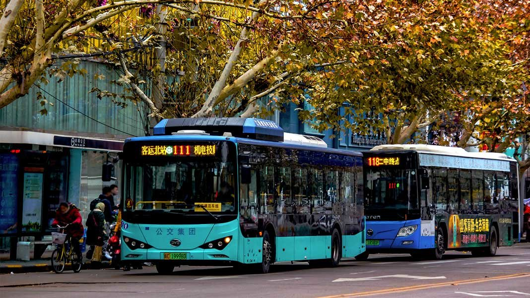 electric buses in China street future of energy