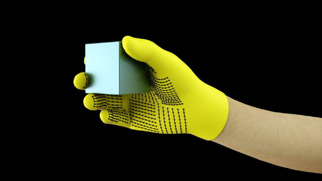 MIT sensor gloves grasp cube robotics