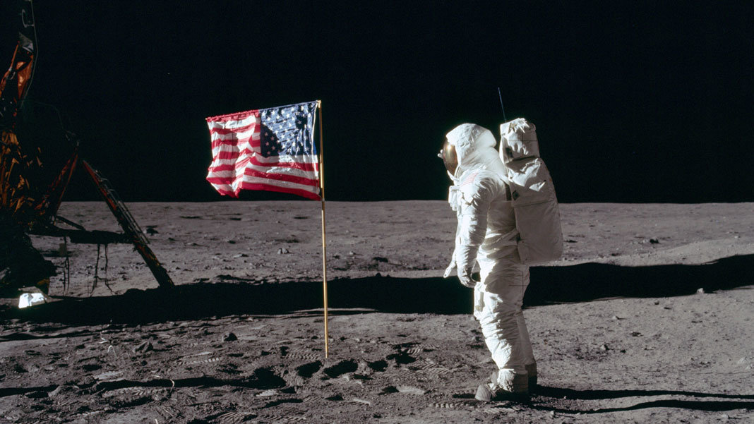 NASA Apollo 11 Buzz Aldrin salutes American flag on moon