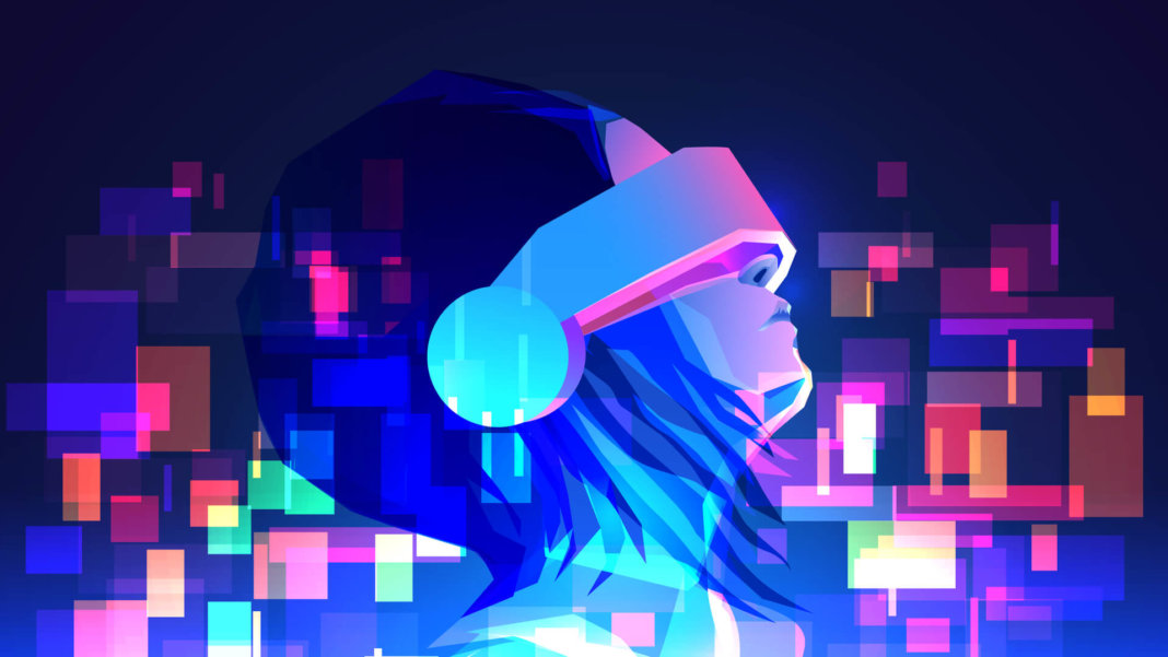 futuristic girl with virtual reality headset future