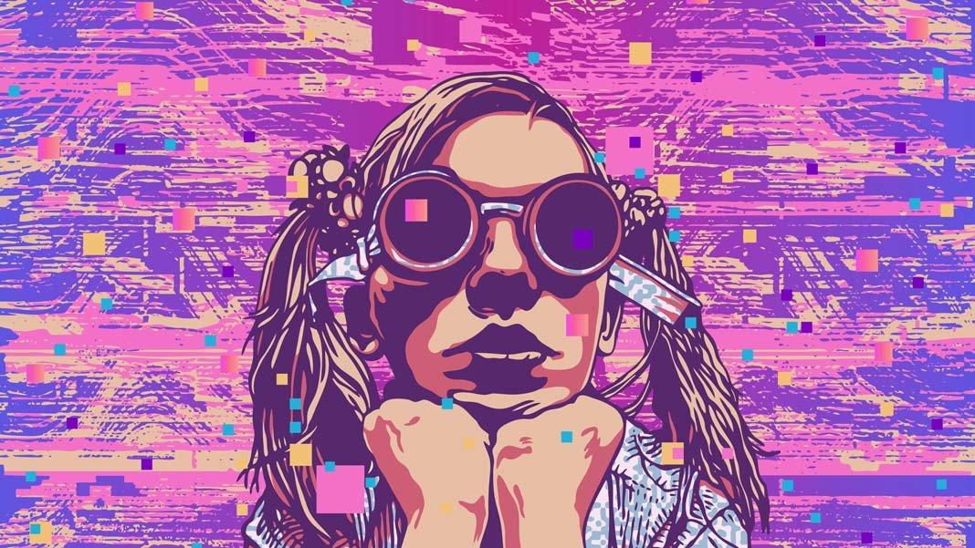 girl cyberpunk glasses pink purple