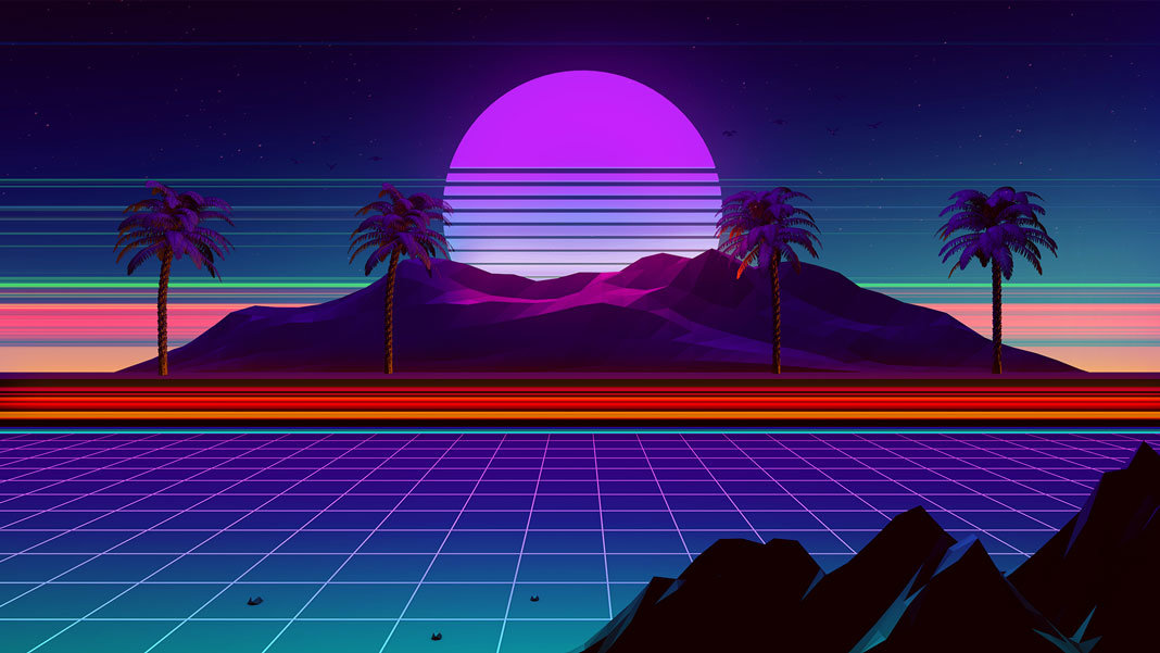 retro synthwave computer landscape palm trees