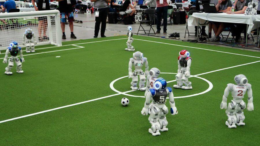 robots playing soccer robotics