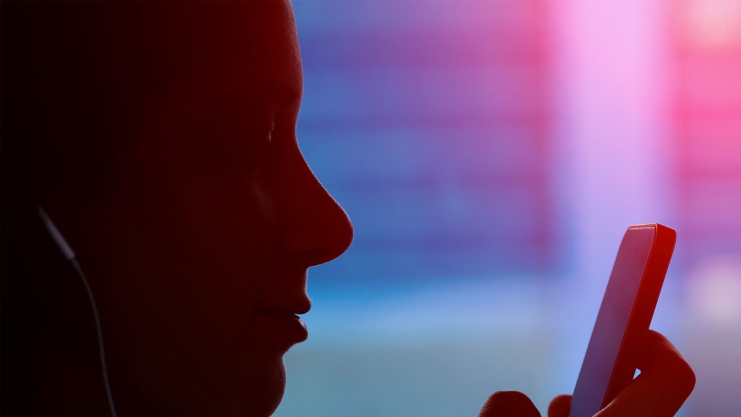 silhouette of young girl using phone digital technology