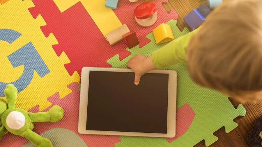 toddler pick up tablet generation growing with artificial intelligence