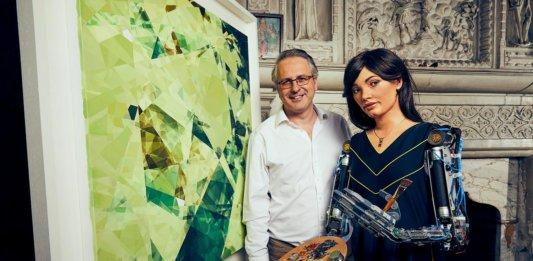 Ai-Da Robot and Aidan Meller with Cartesian painting artificial intelligence art