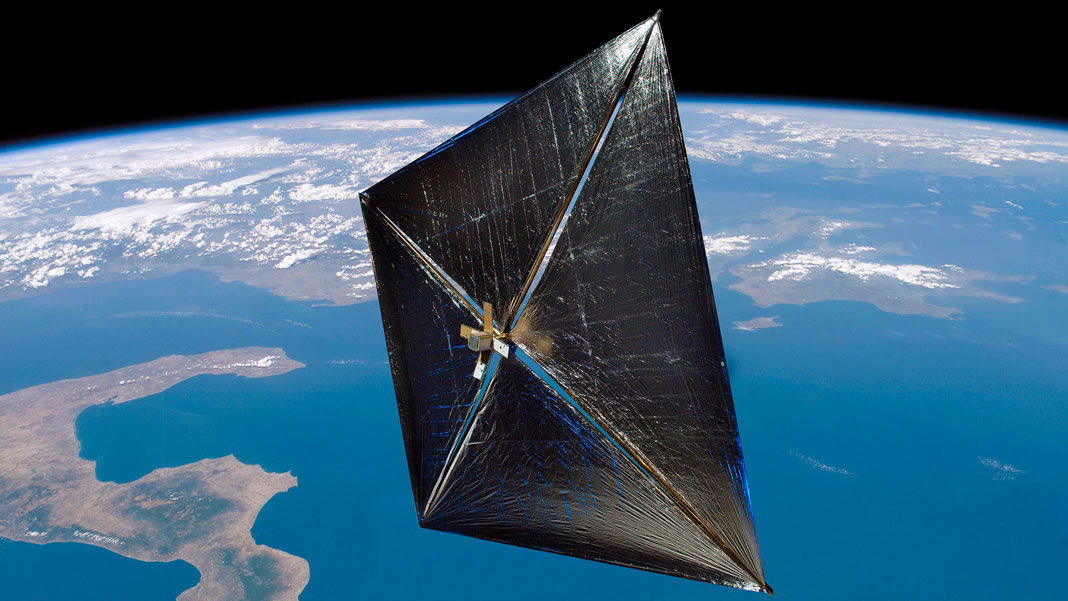 artist depiction of NASA NanoSail D in orbit space