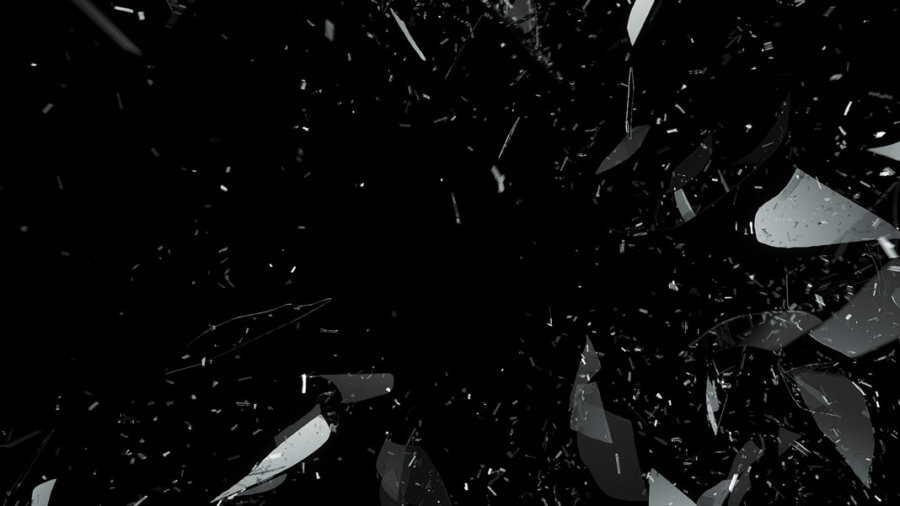breaking shattered glass on black science fiction