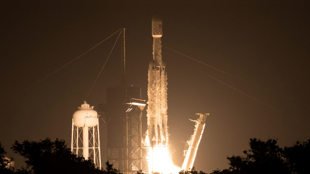 SpaceX Heavy Falcon liftoff with Lightsail 2 space