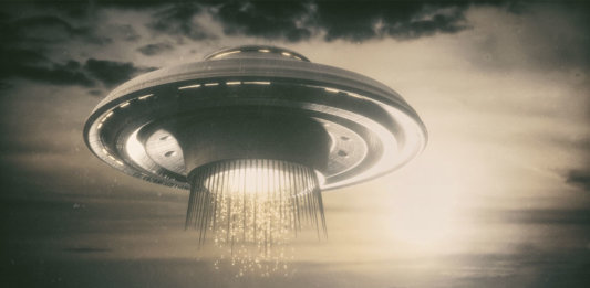 old UFO picture 3D illustration science fiction