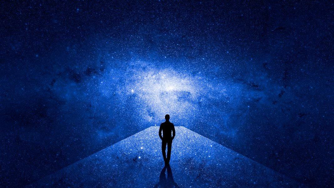 future 3D man walking through universe