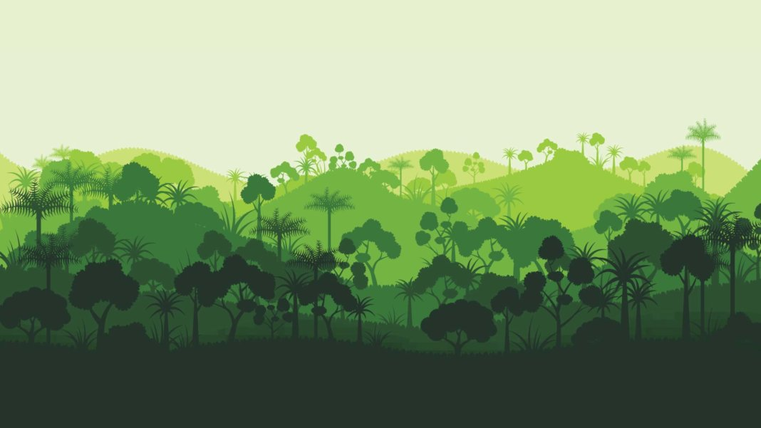 Green silhouette forest abstract background environment