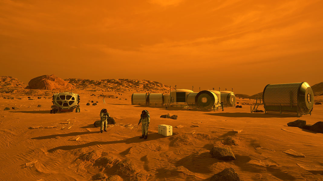 Space NASA artist perspective first humans on mars