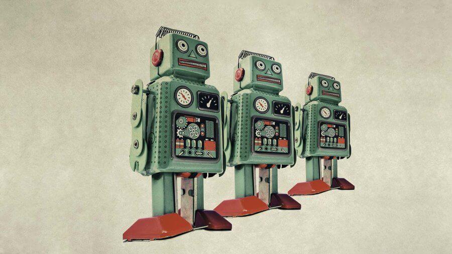 automation three retro robot toys
