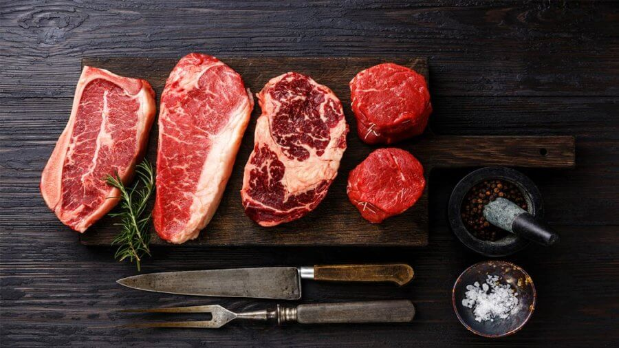 variety of prime raw meat on table food and agriculture