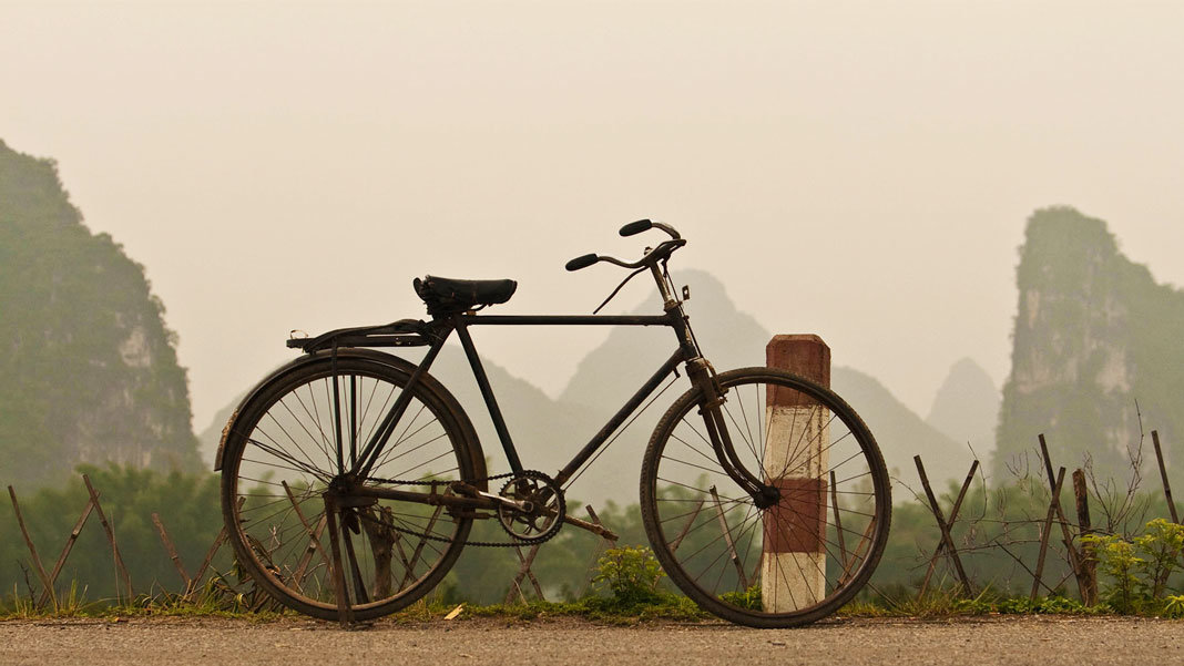 bicycle with hills background in China artificial intelligence