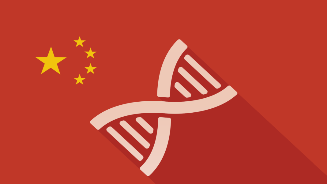 DNA with long shadow on Chinese flag illustration CRISPR