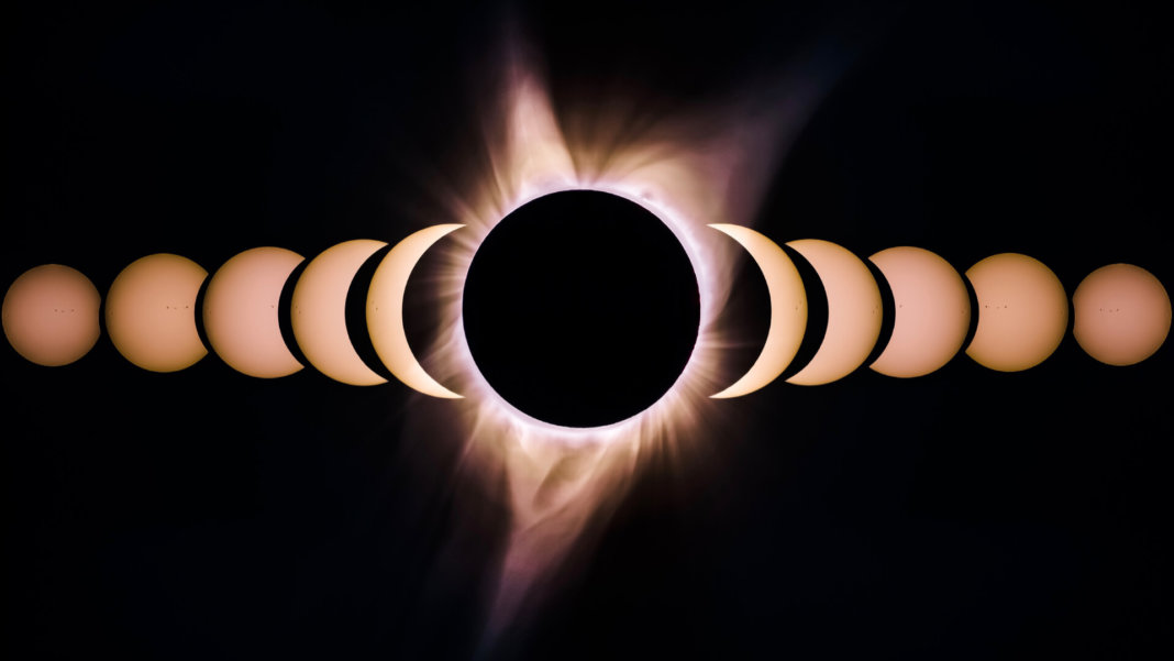 moon and sun solar eclipse sequence