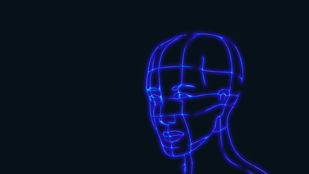 artificial intelligence biometric data face head wireframe