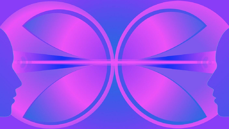 consciousness head to head purple blue faces.