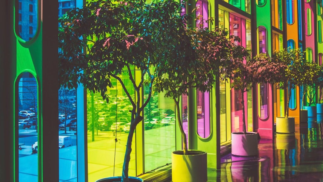 tech stories multicolored windows and trees
