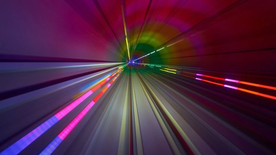 2019 emerging technologies colorful lines tunnel time lapse