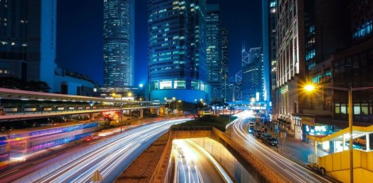 nighttime street scene hong kong smart roads