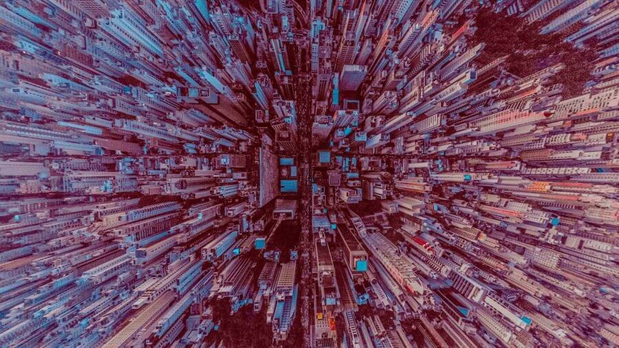 tech stories big city skyscrapers from above