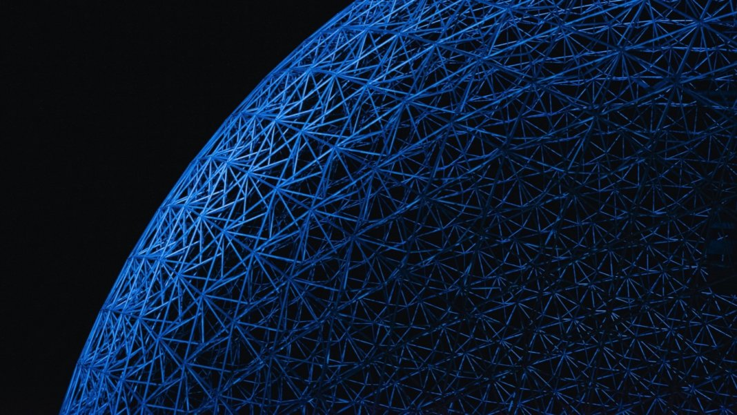 tech stories blue architecture structure sphere black background